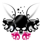 Skull Design. An illustration with an abstract design of a skull in black and pink colors Royalty Free Stock Photos