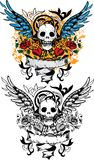 Skull design. With scroll, wings, roses and hearts Royalty Free Stock Images
