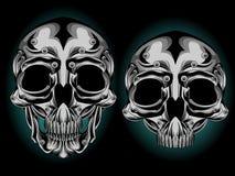 Silver skull head stock illustration