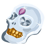 Skull of diamond with amethyst and gold teeth Royalty Free Stock Photos