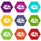 Skull of dinosaur icon set color hexahedron Royalty Free Stock Image