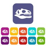 Skull of dinosaur icons set Royalty Free Stock Image