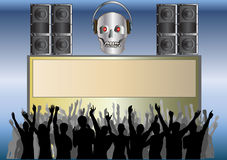 Skull Disco. Audience cheering a skull DJ set, for use with own text in the central blank area Stock Image