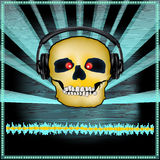 Skull DJ Set Flyer. Background illustration of a DJ Posterwith a skull in headphones for a scary or Halloween set stock illustration