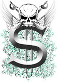 Skull and dollar Stock Image