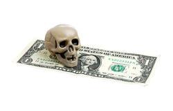 Skull on dollar Royalty Free Stock Photography