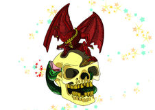 Skull with a dragon colored Royalty Free Stock Image