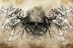 Skull and dragons, Tattoo sketch Stock Photography