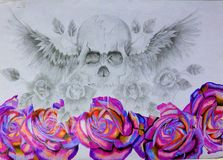 The Skull. Drawing of Skull with wings and flowers stock photos