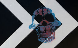 Skull drawn on a road sign Royalty Free Stock Image