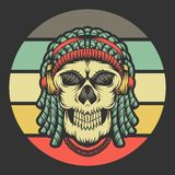 Skull dreadlocks headphone retro vector illustration stock illustration