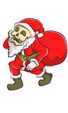 Skull dresser santa. Skull dresses santa walk around take a gift Stock Photos