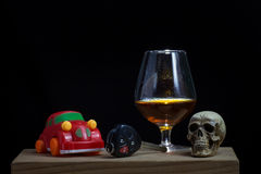 Skull and Drinking Don't Driving Still Life Royalty Free Stock Photography
