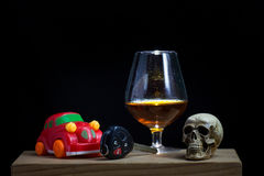 Skull and Drinking Don't Driving Still Life Royalty Free Stock Photo