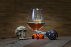 Skull and Drinking Don't Driving Still Life Stock Photography