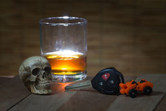 Skull and Drinking Don't Driving Still Life Stock Image