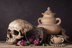 Skull with dry rose in basket Stock Photo