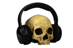Skull with earphones Royalty Free Stock Photography