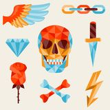 Skull and elements with colored geometric design Stock Photography