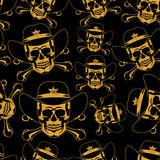 Yellow skulls in cowboy hats background Royalty Free Stock Photography