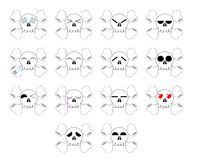 Set of Nice Skull expression isolated Stock Photos