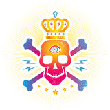 Skull with eye and crown. Vintage vector logo with skull with eye and crown Royalty Free Stock Photography