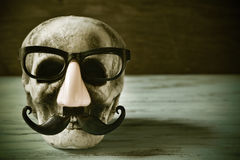 Skull with eyeglasses, fake nose and mustache, filtered Stock Photography
