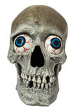 Skull with Eyes. Human Skull from front with Blue Bloodshot Eyes Isolated on White Royalty Free Stock Photo