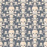 Skull face character scary holiday design ghost fantasy background vector seamless pattern Stock Photography