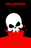 Skull falls into blood. Splashes of red blood. Vector illustrati Royalty Free Stock Images