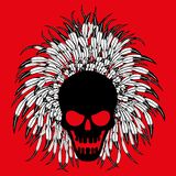 Skull with feathers. Skull with feathers on a red background Stock Photo