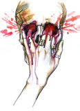 Skull with female hand pushing its fingers inside. Blood leaking around. Watercolor painting Stock Image