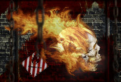 Skull on fire. This illustration created in photoshop for adventuring or for poster for party Royalty Free Stock Photos