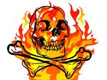 Skull in fire. Black skull and crossbones on fiery background Stock Image