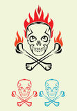 Skull with fire, art tribal. Vector decoration Stock Images