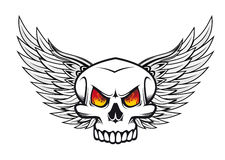 Skull with fire eyes and wings. Danger skull with fire eyes and wings for tattoo or mascot emblem Stock Photo