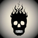 Skull on Fire with Flames Royalty Free Stock Image