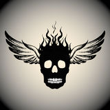 Skull on Fire with Flames  and wings Stock Images