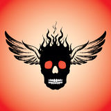 Skull on Fire with Flames  and wings. Royalty Free Stock Image