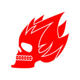 Skull fire. Head skeleton flame. flaming skull tattoo sign Royalty Free Stock Images