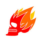 Skull fire. Head skeleton flame. flaming skull tattoo sign Royalty Free Stock Photography