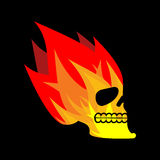Skull fire. Head skeleton flame. flaming skull tattoo sign Royalty Free Stock Photos