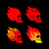 Skull fire. Head skeleton flame. flaming skull tattoo sign.  Stock Photo