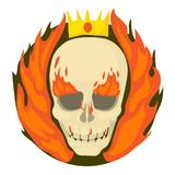 Skull on fire icon, cartoon style. Skull on fire icon. Cartoon illustration of skull on fire vector icon for web Stock Photography