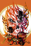 Skull and fire. Ideas creative concepts, graphic death. Skull and darkness The heat of the fire and burning of the eyes, dark mysteries latent horrors Stock Image