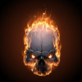 Skull in fire illustration Royalty Free Stock Images
