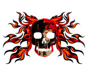 Skull fire scene tattoo style. On a white background Royalty Free Stock Photography