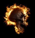 Skull Fire Wallpaper 3D Illustration stock illustration