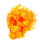 Skull in flame on isolated on white Royalty Free Stock Photography