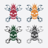 Skull,flame and spanners Royalty Free Stock Photos